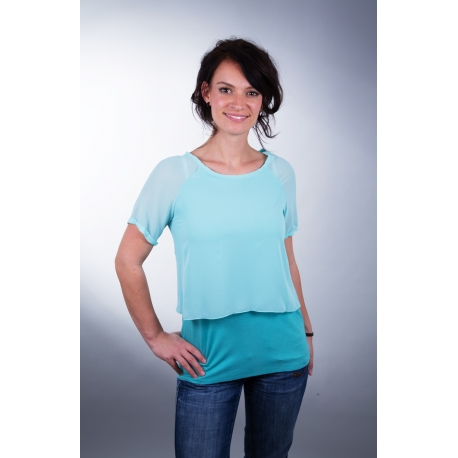 Chiffon-Shirt mit Raglanärmeln