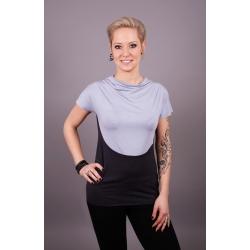 Shirt mit Wasserfallkragen grau
