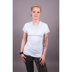 Shirt mit Wasserfallkragen hellblau