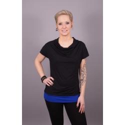 Wasserfall Shirt schwarz mit blauem Bund