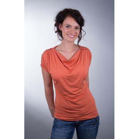 Shirt mit Wasserfallausschnitt und Raffung