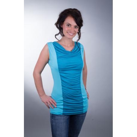 Shirt mit Wasserfallausschnitt und Raffung türkis