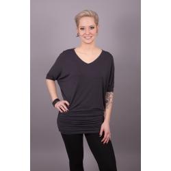 Shirt mit V-Ausschnitt und Fledermausärmeln