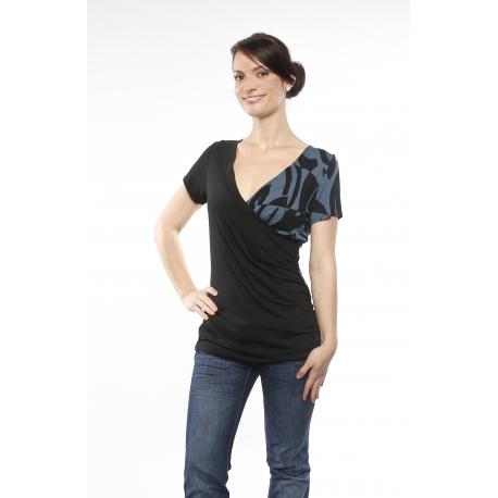 Shirt in Wickeloptik mit Muster