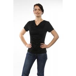 Shirt mit Wasserfallausschnitt und Raffung kurzarm