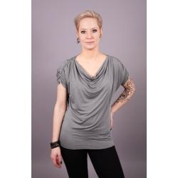 Shirt mit Wasserfallausschnitt und Raffung grau