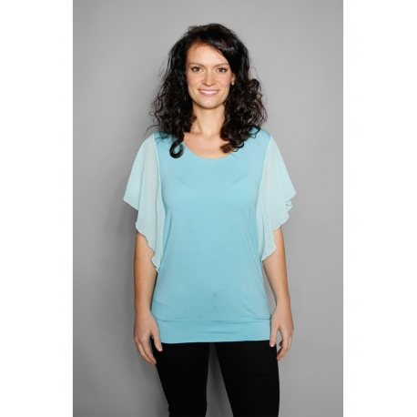 Shirt mit Chiffon-Ärmeln aqua
