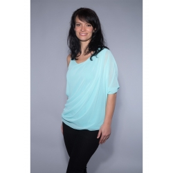 One Shoulder Chiffon Shirt aqua